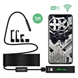 Wireless Endoscope,EOS&HELIOS 5M/16.4Ft 1200P HD WiFi Borescope Mini Inspection Camera 2.0 Megapixels IP68 Waterproof Semi-rigid Detector with 8 LED