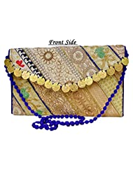 Eco-friendly Zari And Thread Embroidered Indian Shoulder Bag Stylish Purse With Golden Coins