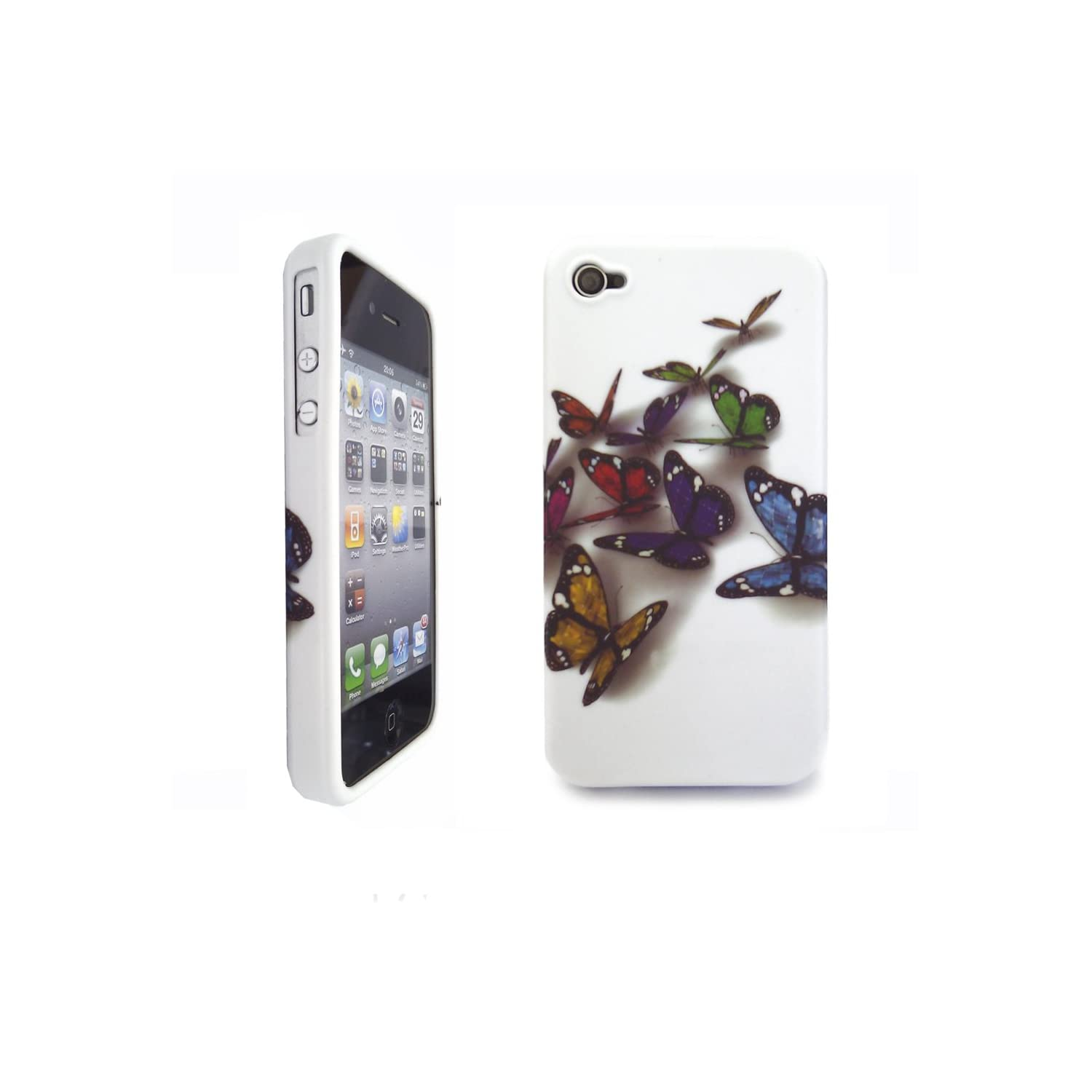 Apple iPhone 4S / 4 / 4G / Stylish Multi Coloured Butterfly Gel Case / NEW