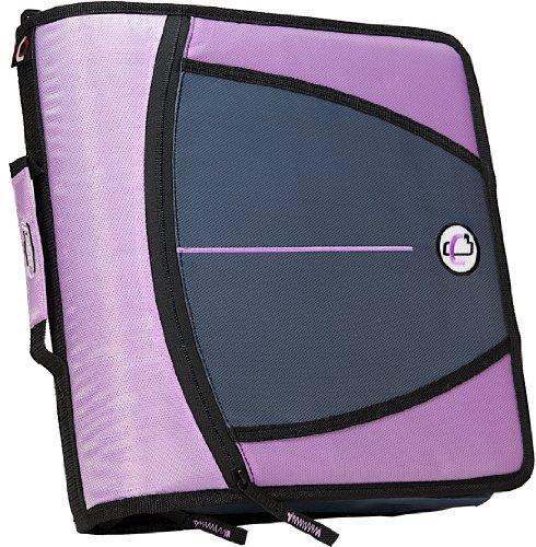 Case-it Mighty Zip Tab 3-Inch Zipper Binder, Lavender