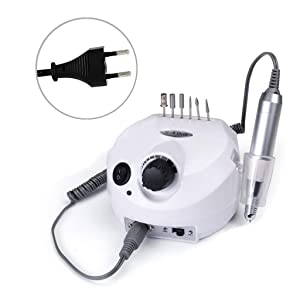 Electric Acrylics Nail Drill, CoastaCloud 110V Professional Manicure Pedicure Nail Drill File Machine Kits with Pedal - White (Color: White)
