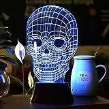 SAVFY 3D LED Lampe 3D Skull Illusion Light Skelett Tischlampe Schädel-Form Lichteffekt für Halloween Weihnachten Party