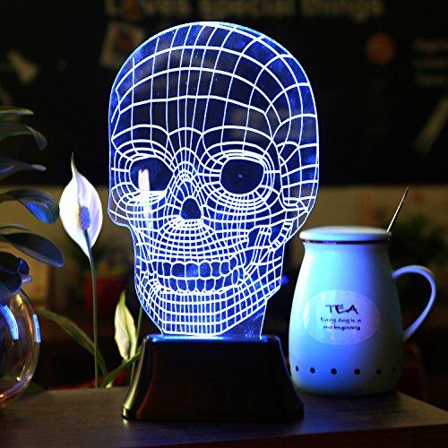 SAVFY-3D-LED-Lampe-3D-Skull-Illusion-Light-Skelett-Tischlampe-Schdel-Form-Lichteffekt-fr-Halloween-Weihnachten-Party