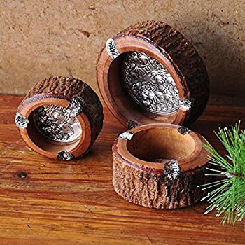 5.5cm - 10.16cm Diameter Unique Handmade Vintage Round Original Antique Wooden Cigarette Ashtray Ash Tray,Nice Decoration for House/Room/Office Decorative Indoor Outdoor