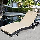 Giantex Adjustable Pool Chaise Lounge Chair Outdoor Patio Furniture Pe Wicker W/cushion