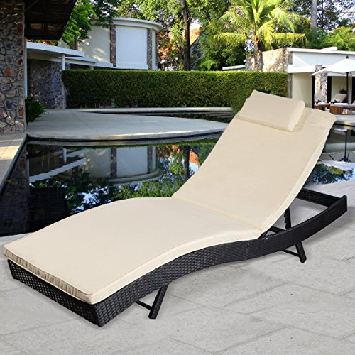 Giantex Adjustable Pool Chaise Lounge Chair Outdoor Patio Furniture Pe Wicker W/cushion