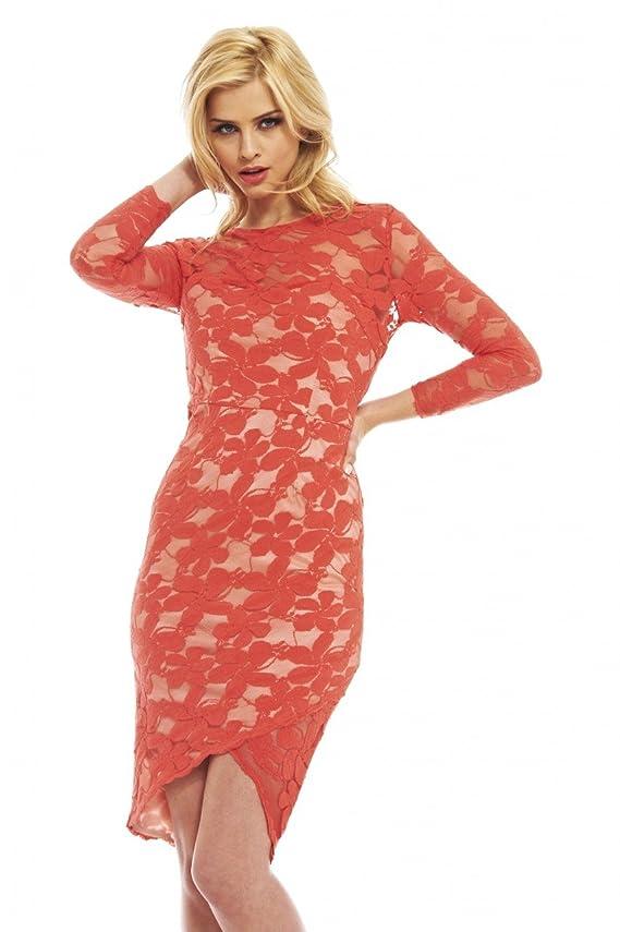 AX Paris Women's Constrast Lace Coral Wrap Effect Dress