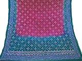 Vintage indien Artisanat Dupatta longue écharpe Hijab Tissu brodé rose Veil Stole...