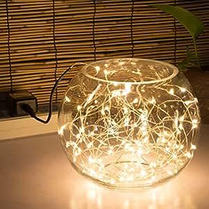 string lights 100 leds 33ft 10m indoor decorative lights silver wire lights for. Black Bedroom Furniture Sets. Home Design Ideas