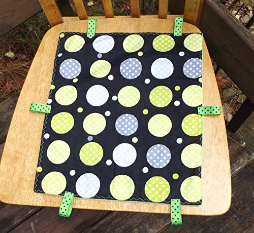 Dots and Minky Toddler Quilt with Ribbon Tags, Security Blanket - Lovey - Carseat, Stroller, Travel Soother - Minky Baby Blanket