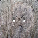 Rikki Knight Wood Tree Trunk Design Double Toggle Light Switch Plate