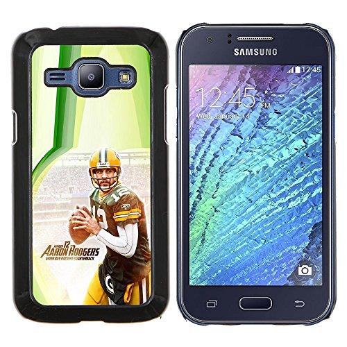 Aaron Rodger 12 NFL - Aluminum Metal & plastica dura Phone caso - nero - Samsung Galaxy J1 / J100