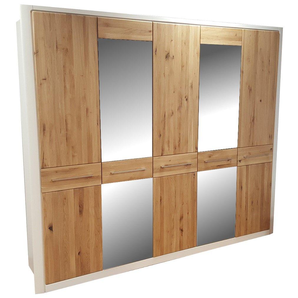 Telmex 50EWLB25 Kleiderschrank Elba, 261 x 220 x 57 cm, Asteiche Bianco, teilmassiv, 5 Türen, 2 Spiegel, Kiefer weiß
