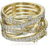 Miss Crislu Cubic Zirconia Entwined Gold Ring