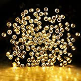 LE® Solar Power LED String Lights, 49ft/15m 100 LEDs, Waterproof Ambiance Lighting, 3000K Warm White, Starry Fairy Lights with Light Sensor, Outdoor and Indoor Use, Home/Wedding/Holiday Decoration