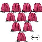 LIHI Bag 20 Pack Ripstop Drawstring Backpack,Party Favors Goody Bags Bulk,Magenta (Color: 20pcs Magenta, Tamaño: 13