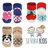 Sevira Kids - Lote de 3 pares de calcetines antideslizantes con sonajero 3D (ABS, hasta los 24 meses) Multicolor ni�a Talla:talla 18-20, suela 11 cm, 0-12 meses