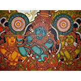 Retcomm Solutions Krishna Mural In Purple Canvas Frame Painting (60.96 Cm X 0.12 Cm X 45.72 Cm)