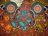 Retcomm Solutions Krishna Mural in Purple Canvas Frame Painting (60.96 cm x 0.12 cm x 45.72 cm)