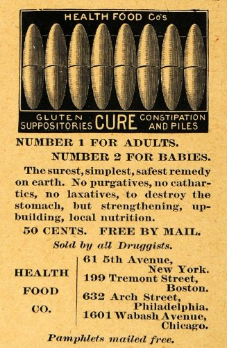 1895 Ad Health Food Company Gluten Suppositories Piles - Original Print Ad