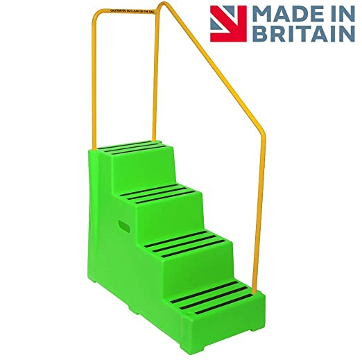 Premium Step 4 Tread Industrial Green Plastic Moulded Block Step with Yellow Tubular Steel Handrail