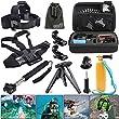 EEEKit 6 Items Basic Kit for GoPro HERO4 Session/HERO Plus LCD/HERO4 HERO 4/3/2,Carry Bag,Head/Chest Harness/Selfie Stcik/Tripod/Floaty Grip Mount