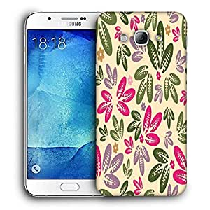 Snoogg Colorful Leaves Printed Protective Phone Back Case Cover For Samsung Galaxy A8