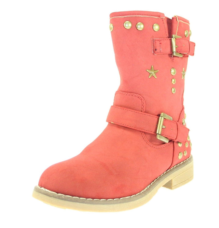 Stiefeletten Mädchen Farbe Rot mit Nieten, Sternen & seitlicher Reißverschluss günstig kaufen