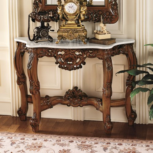 Cheap Antique Replica Baroque Marble-Topped Console Hall Foyer Table (KS4119)