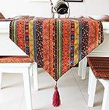 選べる ボヘミアン アジアン こだわり テーブル ランナー おしゃれ リビング モダン 北欧 セレクト インテリア 雑貨 刺繍 幾何学 模様 デュベ ライナー カフェ タイプ D (180×32cm, 赤色 レッド)