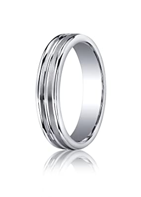Sterling Silver, 5mm Comfort-Fit Satin Double Groove Center Band (sz L to Z3)