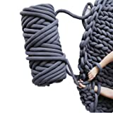 Chunky Yarn Chunky Merino Wool Yarn Super Soft Washable Super Bulky Giant Wool Yarn for Extreme Arm Knitting DIY Throw Sofa Bed Blanket Pillow Pet Bed and Bed Fence (1kg (2.2lbs), Dark Grey) (Color: Dark grey, Tamaño: 1kg (2.2lbs))