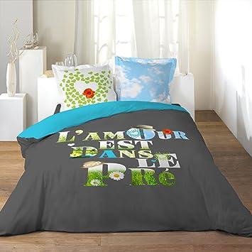 l 39 amour est dans dans le pr 1680021 parure de lit lit 2 personnes housse de couette 220. Black Bedroom Furniture Sets. Home Design Ideas