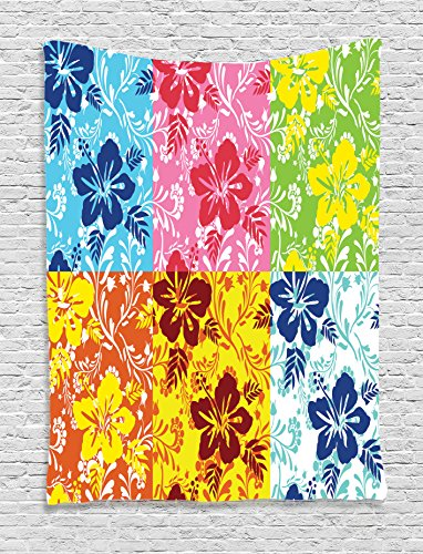 Ambesonne-Hawaiian-Decorations-Collection-Tropical-Colorful-Blooming-Hibiscus-Flower-Summer-Themed-Pattern-with-Leaves-Bedroom-Living-Room-Dorm-Wall-Hanging-Tapestry-Blue-Red-Green