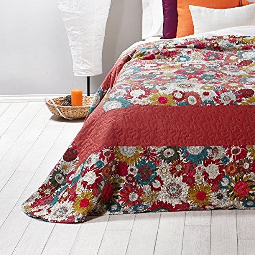 Sancarlos - Bouti diseño fabia rosa rojo - relleno ligero - reversible - varias medidas disponibles