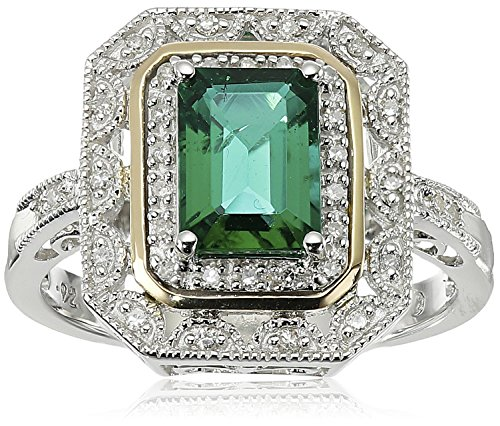 sterling-silver-and-14k-yellow-gold-created-emerald-and-diamond-art-deco-ring-size-7