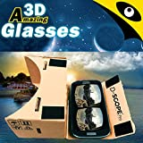 Google Cardboard Kit by D-scope Pro (TM) 3D Virtual Reality Compatible with Android & Apple Easy Setup Instructions Machine Cut Quality Construction 45mm Lenses HD Visual Experience Includes QR Codes