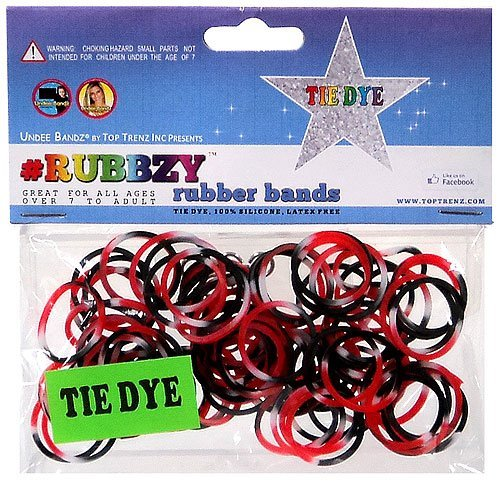 Undee Bandz Rubbzy 100 Black, Red & White Tie-Dye Rubber Bands with Clips [V] - 1