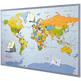 Pinnwand Weltkarte inklusive 12 Markierfähnchen ca. B90 x H60 cm