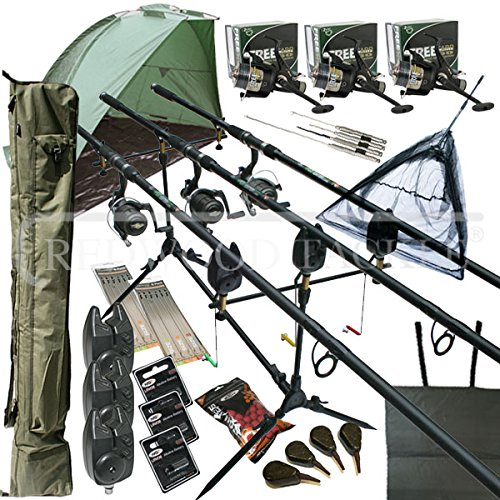 Deluxe Full Carp fishing Set Up With Rods, Reels, Alarms, 42