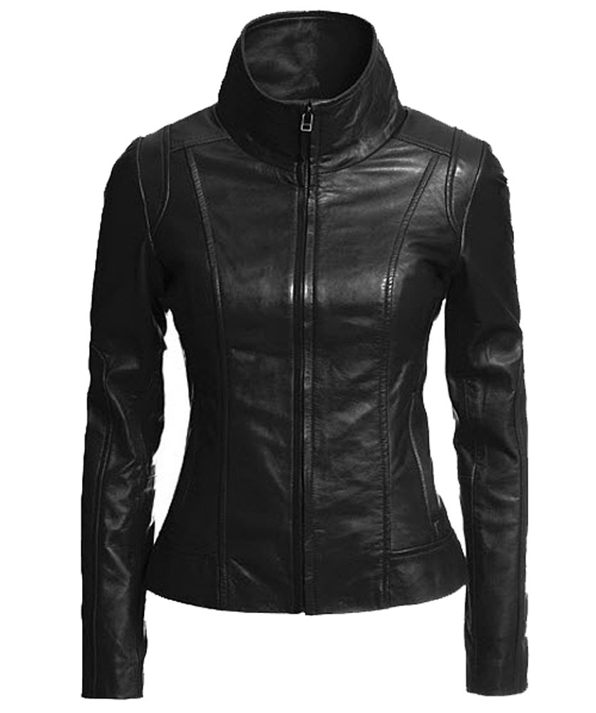 Vintage Women's Slim Biker Motorcycle Real Leather Zipper Jacket W196 0