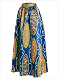 Vintage-Womens-African-Print-High-Waist-A-Line-Maxi-Flare-Skirt