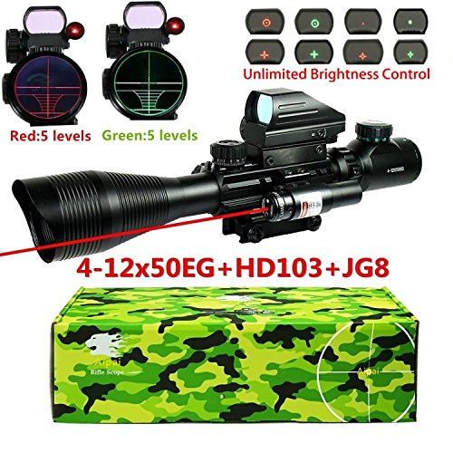 Aipai-3-in-1-Rifle-Scope-C4-12x50EG-Dual-Illuminated-for-AR15-with-Holographic-4-Reticle-Red-and-Green-Dot-Refle-Sight-and-Red-Laser-Sight-for-2211mm-WeaverPicatinny-Rail-Mount-12-Month-Warranty