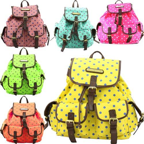 New Ladies Anna Smith Purple Polka Dot Backpack LYDC Rucksack Bag Handbag