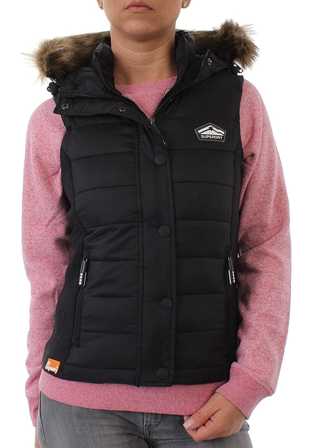 Superdry Weste Women HOODED FUJI SLIM DOUBLE ZIP Black