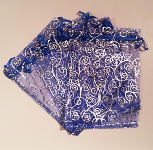 50 Organza Gift Bags (Blue with Silver Details)