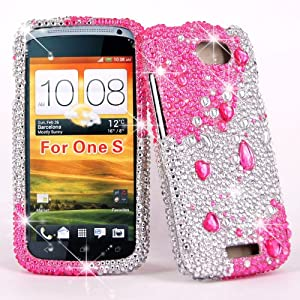 Cellularvilla Case for Htc One S/ville T-mobile Big Pink Silver Diamond Hard Case Cover. by CellularVilla