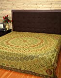 Indian Bedspread Elephant Green Double Embroidered Cotton Bedspread By Rajrang