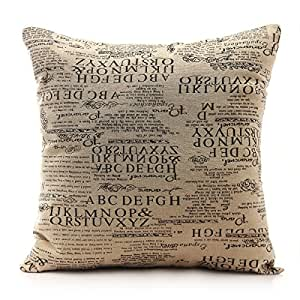 Throw Pillows With Washable Covers : Amazon.com - Come2buy - Durable Machine Washable Cotton Linen Vintage Style Postmark News Paper ...