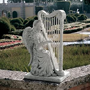 """29"""" Classic Winged Musical Angel Playing Harp - Home Garden Statue Sculpture Yard Art"""